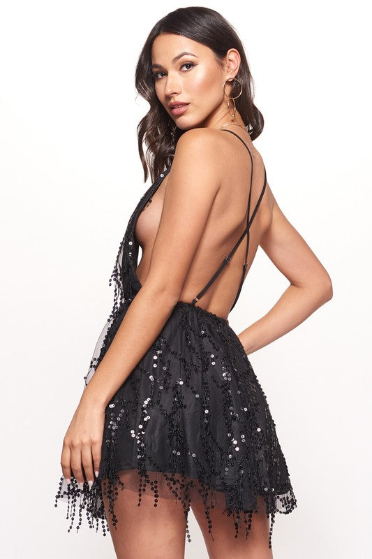 One night sequined halter open back mini dress
