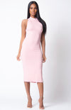 Looking Blush Mock Neck Slit Midi Dress