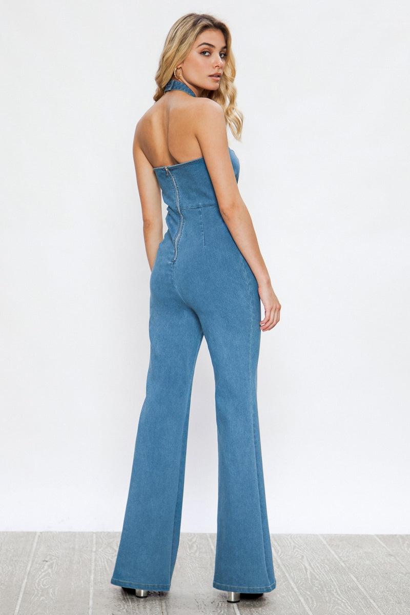 Set Sail Denim Open Back Jumpsuit