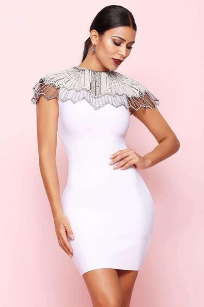Estelle Bead Embroidered Bandage Dress - White / L