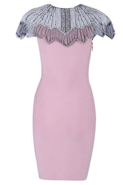 Estelle Bead Embroidered Bandage Dress - Pink / L