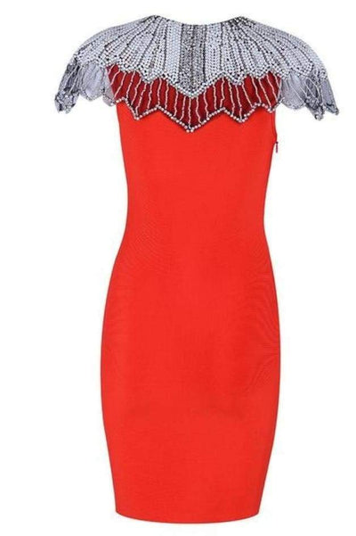 Estelle Bead Embroidered Bandage Dress - Red / L