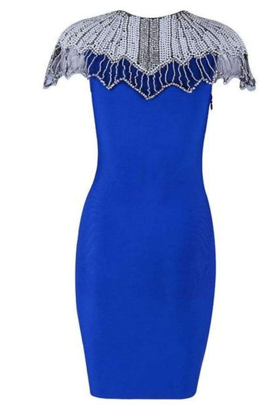 Estelle Bead Embroidered Bandage Dress - Blue / L