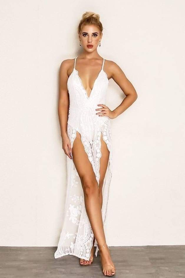 'PORTIA' Sequin Double Slit Jumpsuit