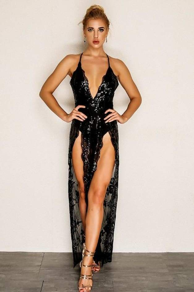 'PORTIA' Sequin Double Slit Jumpsuit (Black)