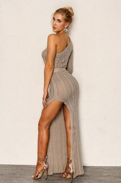 Sahara One Shoulder Maxi Dress (Taupe)