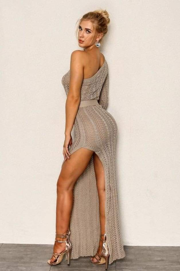 'SAHARA' One Shoulder Maxi Dress (Taupe)