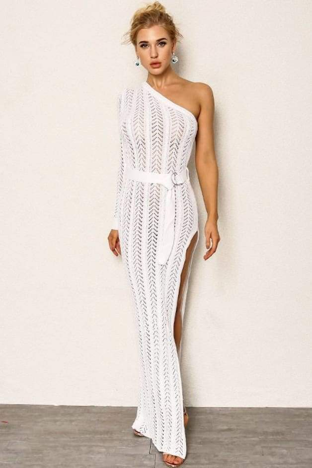 'SAHARA' One Shoulder Maxi Dress (White)