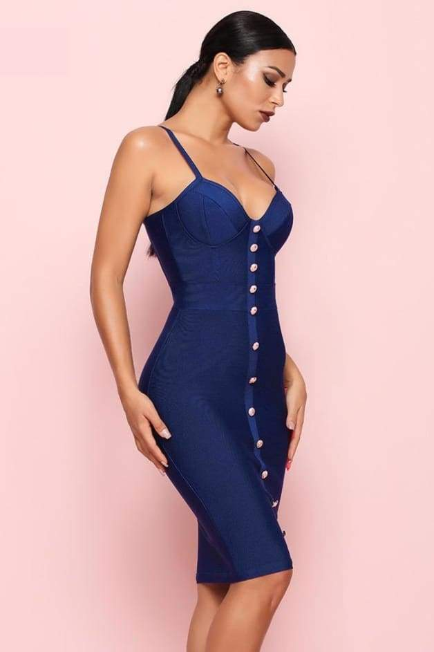 Tinker Buttoned Down Bandage Dress - L