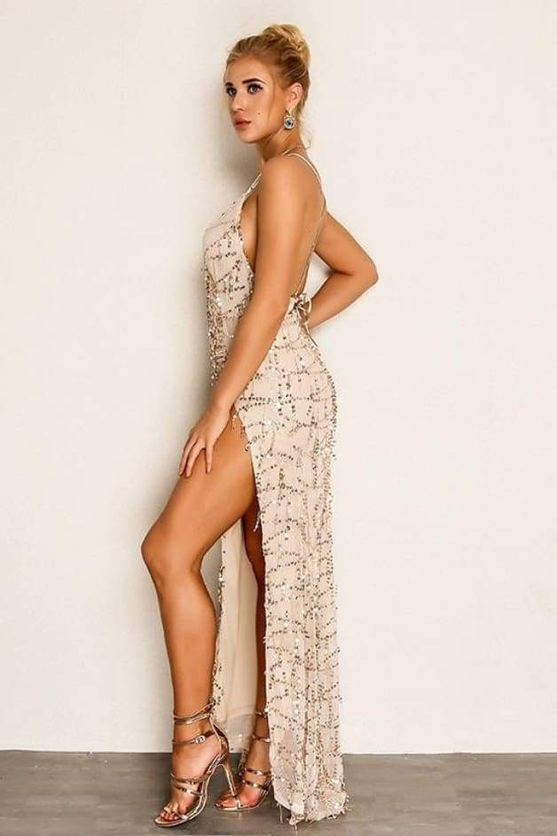 'YONDA' Sequin High Slit Maxi Dress