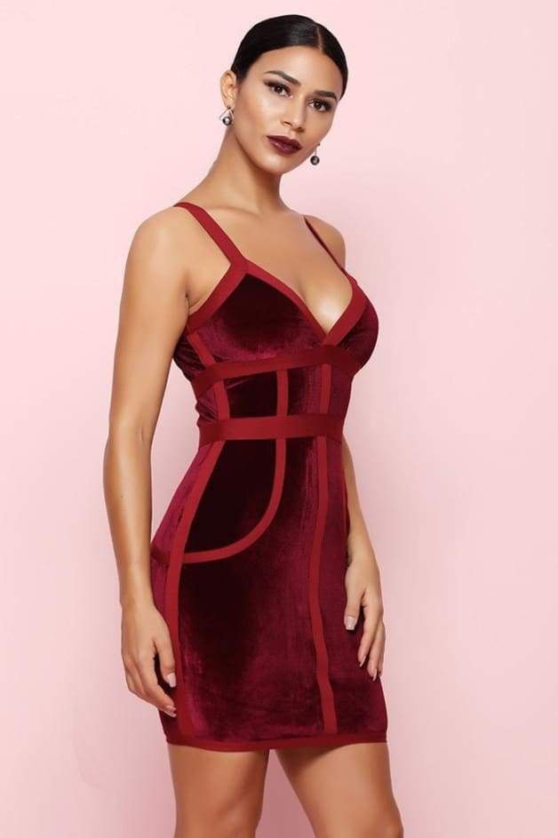Mulberry Velvet & Bandage Cross Bust Dress