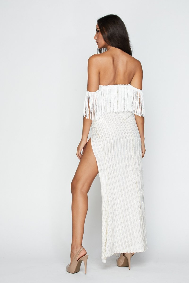 Fringe Down Fringe Maxi Dress - S / White