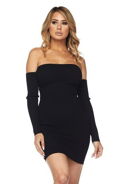 Caged Off Shoulder Dress - S / Black
