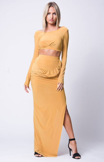Joyden Two-Piece Maxi Dress - S / Mustard