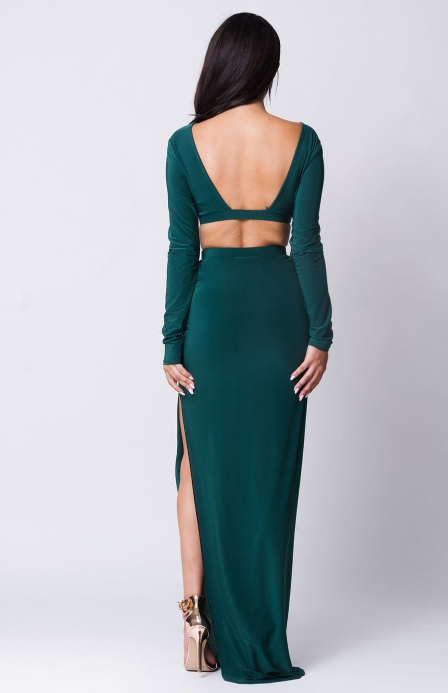 Joyden Two-Piece Maxi Dress - S / Hunter Green