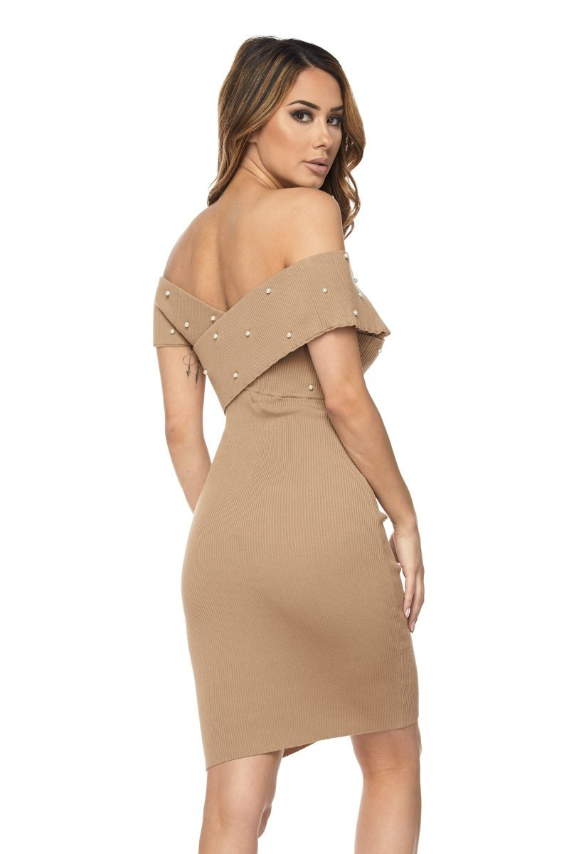 Pearl Studded Off Shoulder Dress - S