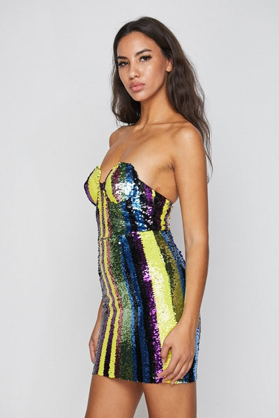 Claim Strapless Sequin Bustier Dress