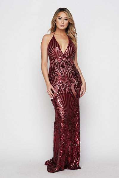 Plexi Sequin Open Back Gown - S / Burgundy