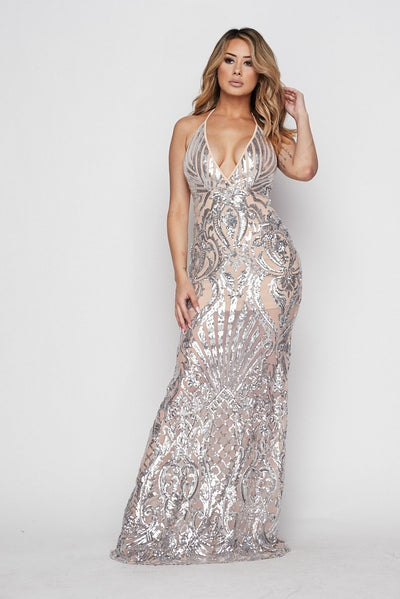 Plexi Sequin Open Back Gown - S / Nude/silver