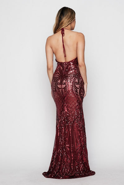 Plexi Sequin Open Back Gown