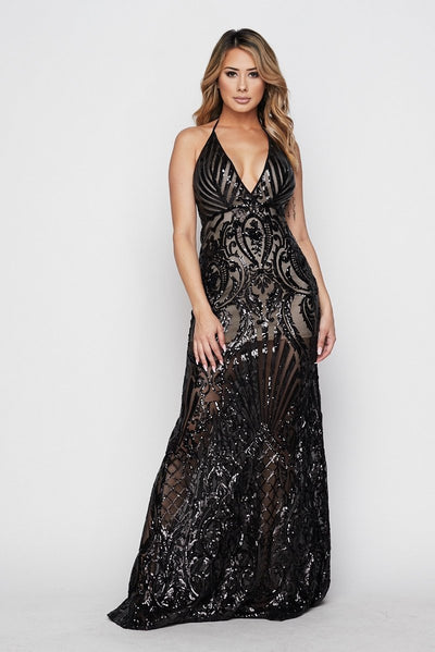Plexi Sequin Open Back Gown - S / Black