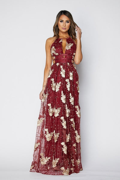 Dainty Metallic Pearl Embroidered Maxi Dress - S / Burgundy