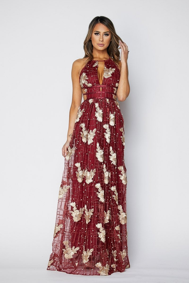 DAINTY Metallic Pearl Embroidered Maxi dress