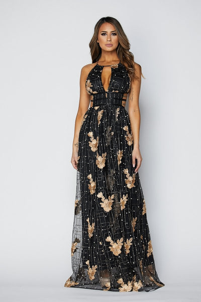 Dainty Metallic Pearl Embroidered Maxi Dress - S / Black