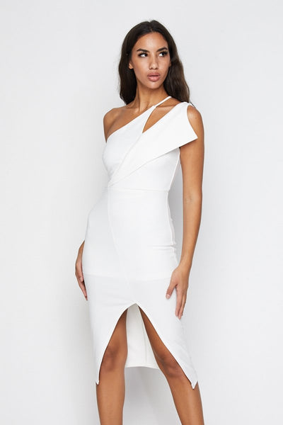 Elate Asymmetrical Midi Dress - S / White