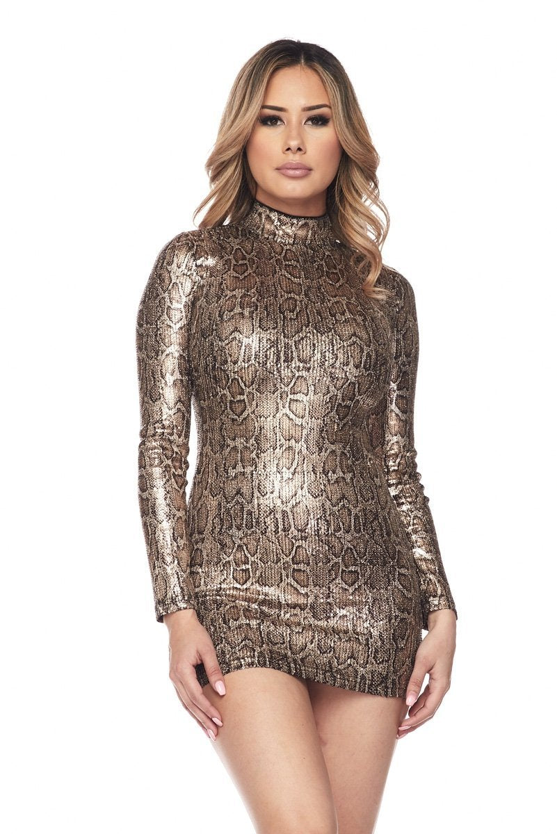 Blessed Leopard Print Sequin Dress