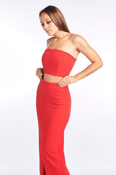Red Strapless Crop Top and Maxi Skirt Set