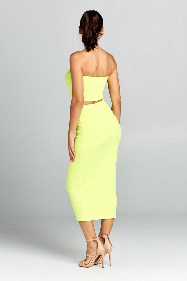 Neon Lime Solid Tube Crop Top Midi Skirt Set