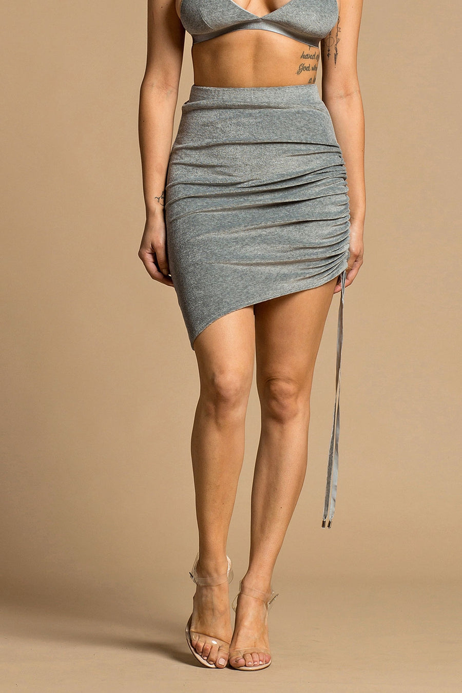 Heather Grey Velour Ruched Mini Skirt
