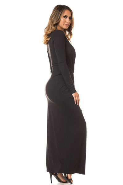 Wild Plunging Long Sleeve Maxi Dress