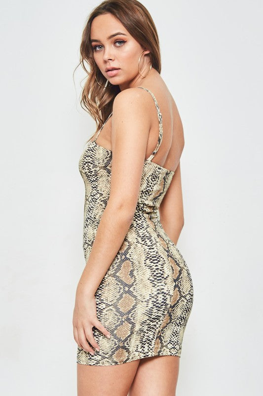 Brown Snake Print Double Layered Mini Dress