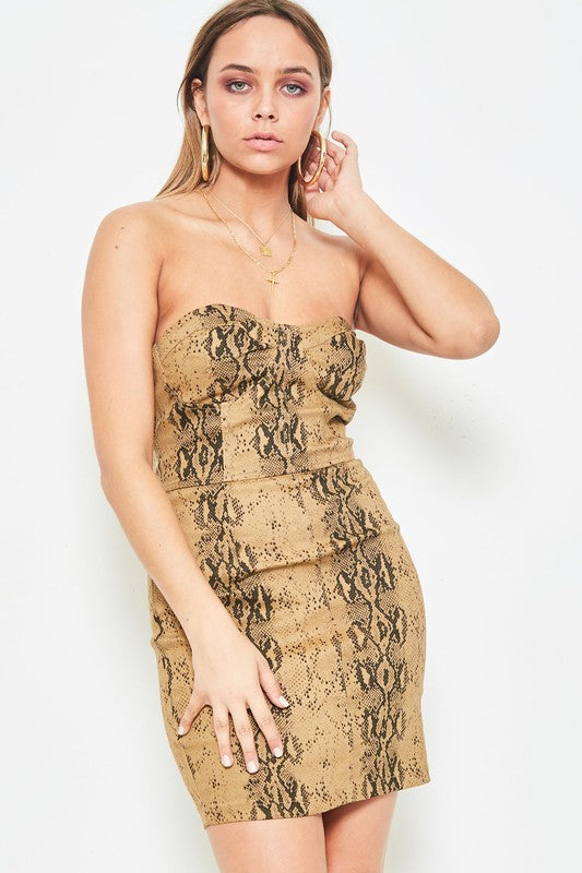Brown Knit Cotton Tube Snake Print Mini Dress