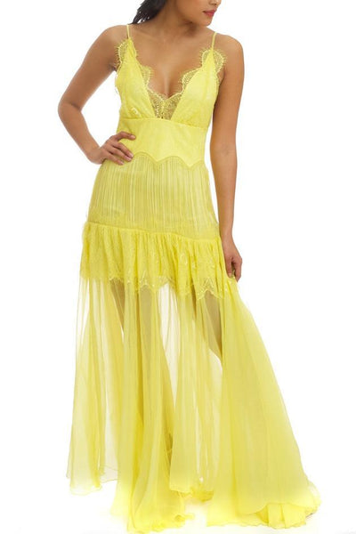 Vacay Bay Floral Lace Maxi Dress - S / Yellow
