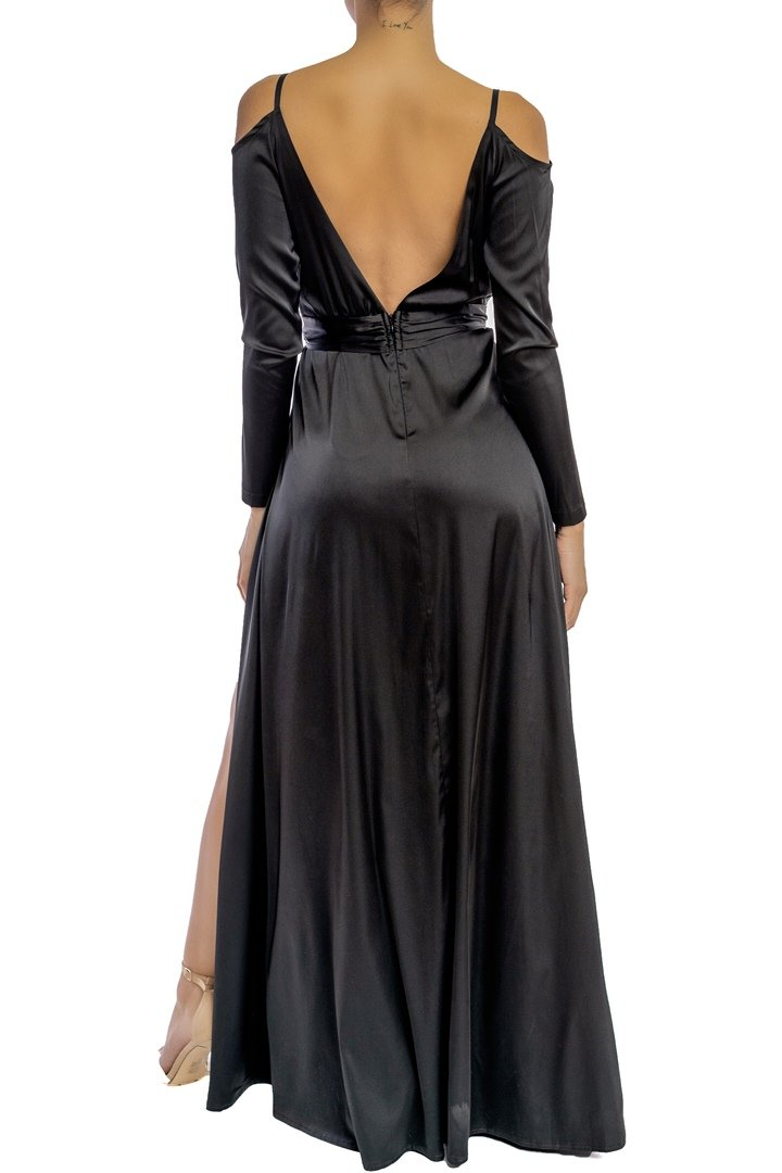 Black Satin Off Shoulder Long Sleeve Maxi Dress