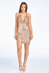 Gold Sequined Asymmetrical Open Back Mini Dress