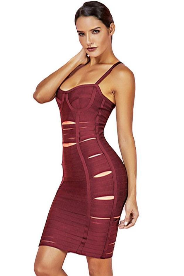 Bombae Cuts Bandage Dress - Wine Red / S