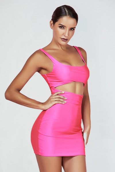 Bubble Gum Neon Pink Cut-Out Dress - Pink / L
