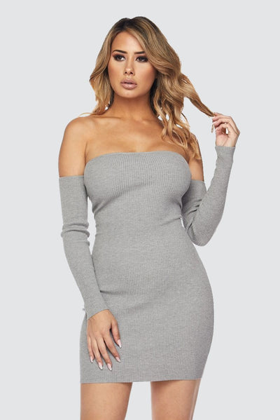 Caged Off Shoulder Dress - S / Heather Gray