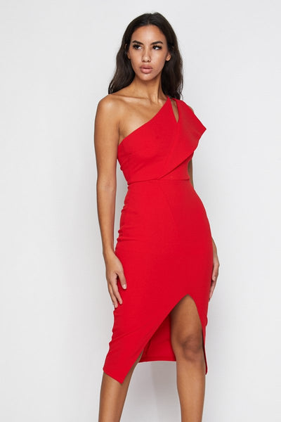 Elate Asymmetrical Midi Dress - S / Red