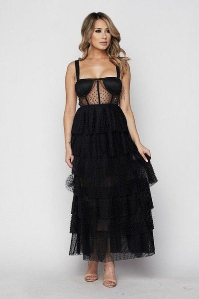 Luxy Lace Ruffle Maxi Dress - S