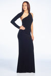 Black Velvet Long Sleeve Open Back Maxi Dress