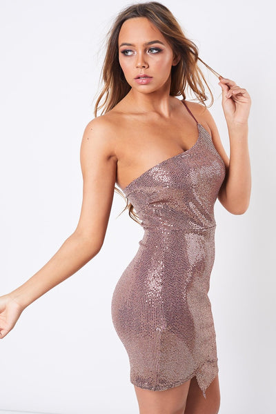 Metallic One Shoulder Sequin Dress