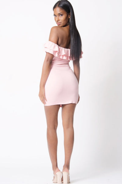 Pink Ruffle Detail Off Shoulder Bodycon Mini Dress