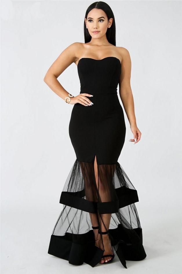Adore Me Strapless Mesh Skirt Maxi Dress