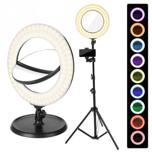 Dual Sides Mirror With Dimmable LED Multicolor Ring Light And Tripod