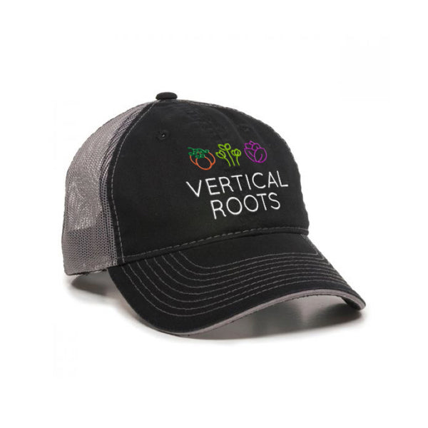 Vertical Roots Unstructured Trucker Hat – Black